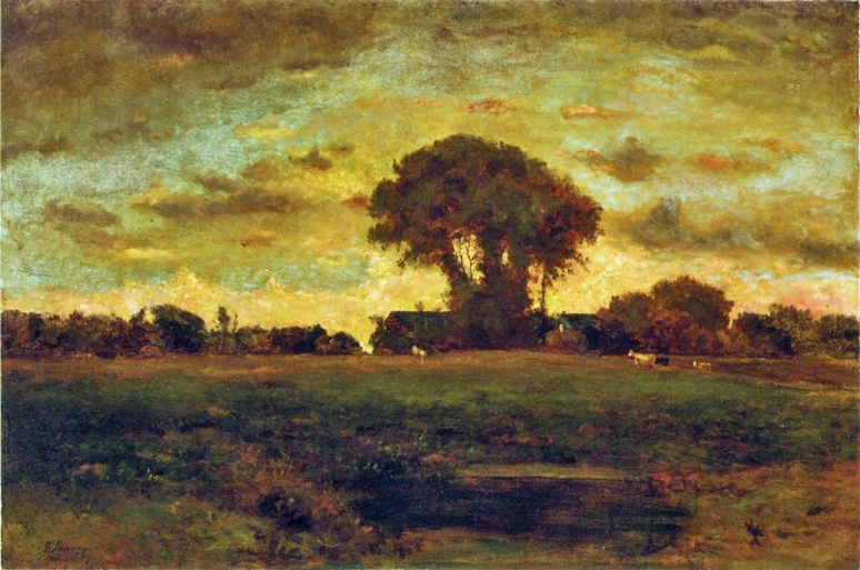 George Inness - Sunset on a Meadow