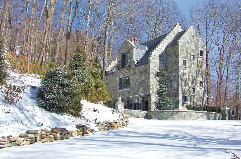 Stone Castle in Snow