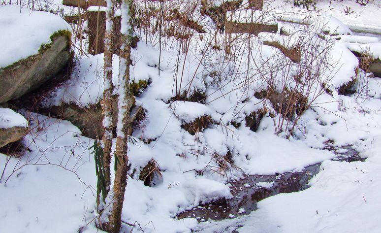 Rocks Snow and Water at Sugar Mountain