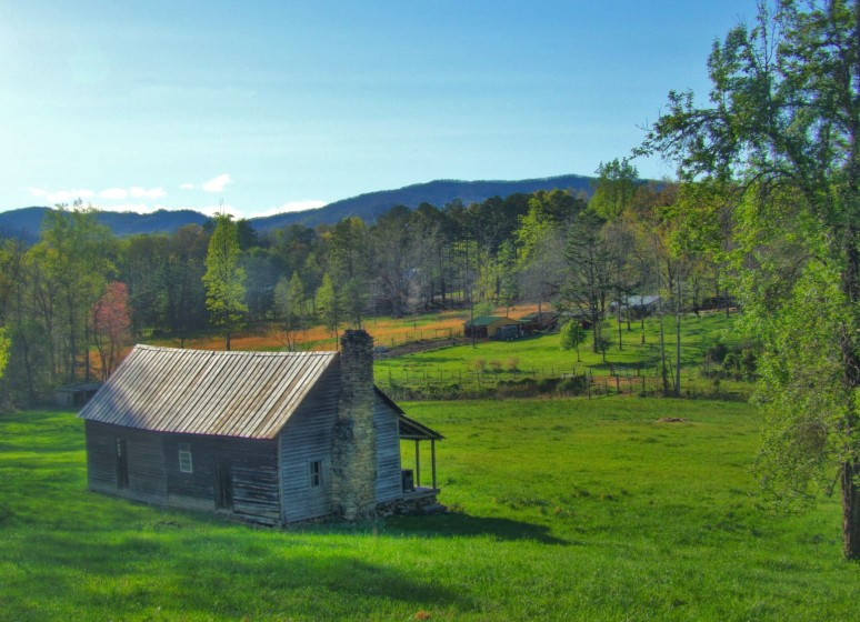 Mountain Log Cabin in Pasture