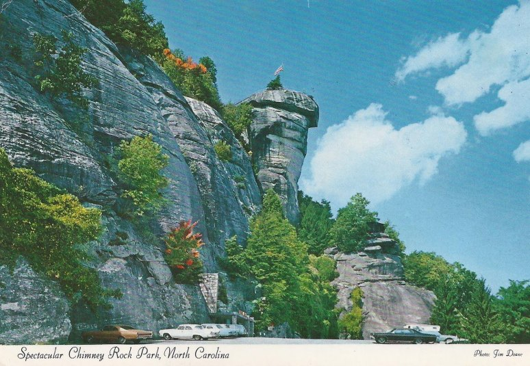 Chimney Rock NC postcard parking