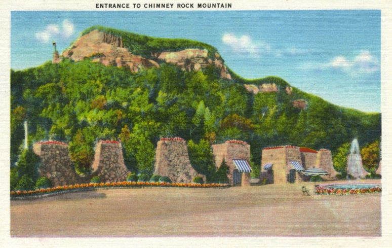 Chimney Rock postcard entrance