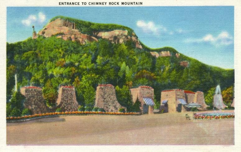 Chimney Rock postcard entrance
