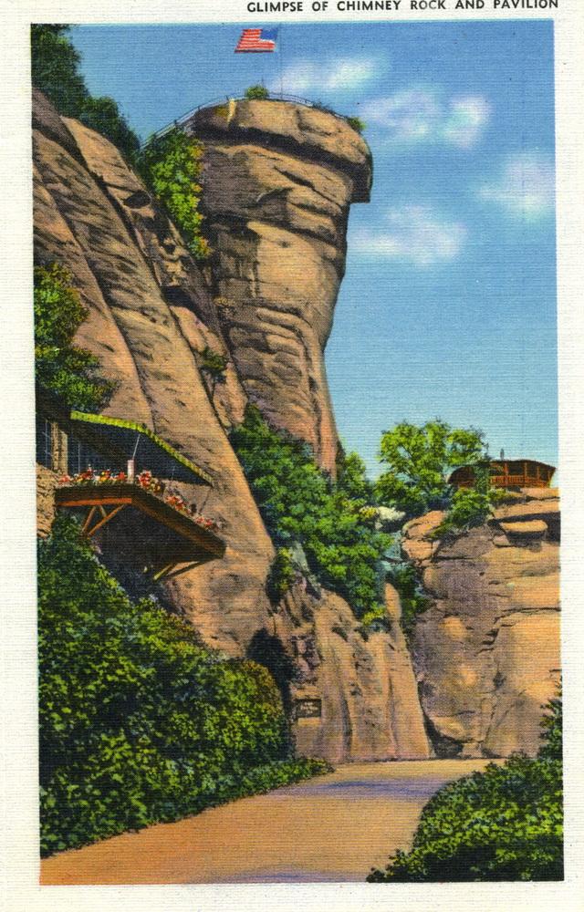 Chimney Rock postcard parking