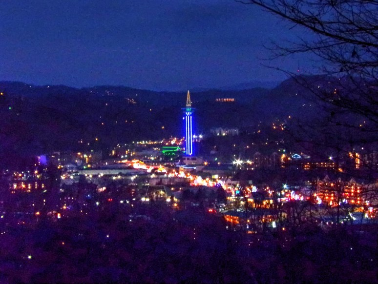 Gatlinburg at night fom above