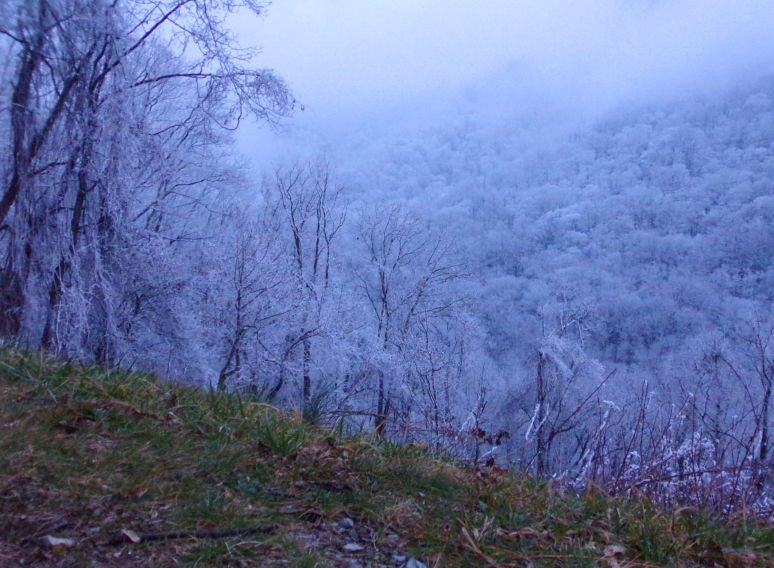 Great Smokies Snow at Sunset