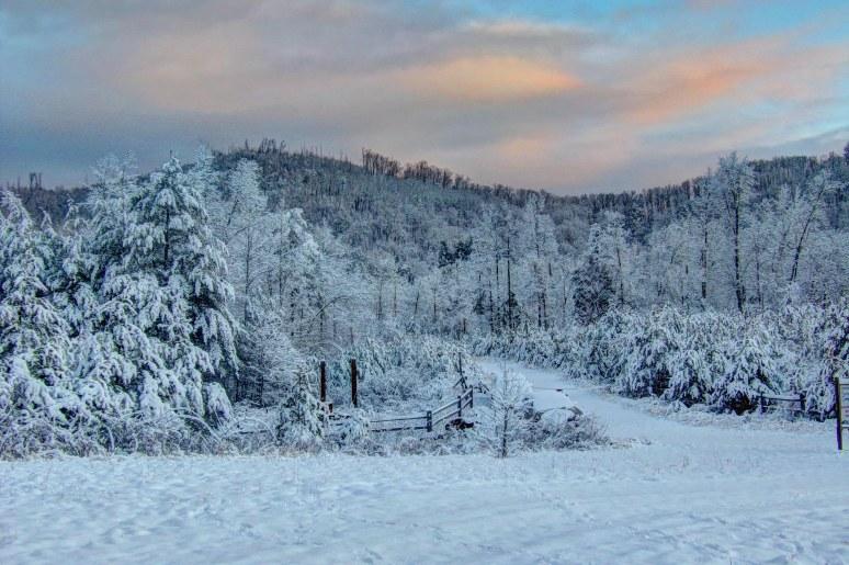 Brushy Top Mountain in Snow at dawn