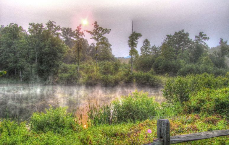 A  wildfire in the vicinity makes for a strange sunrise over the mist covered pond.