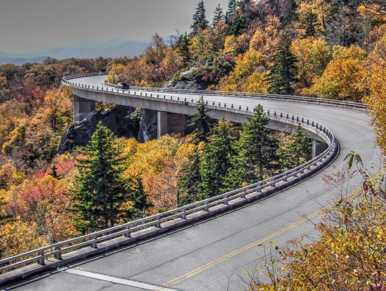 Linn Cove Viaduct in Yellow