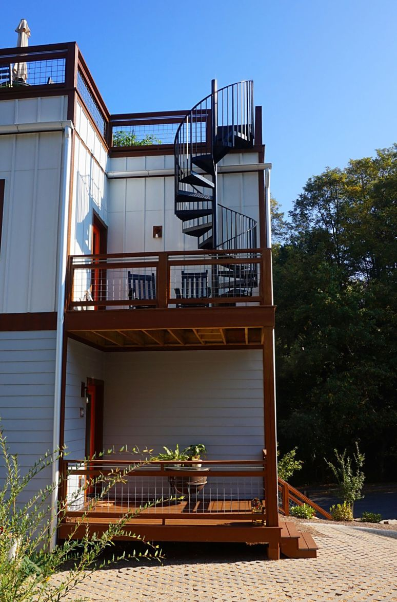 Asheville urban cottages spiral stairs