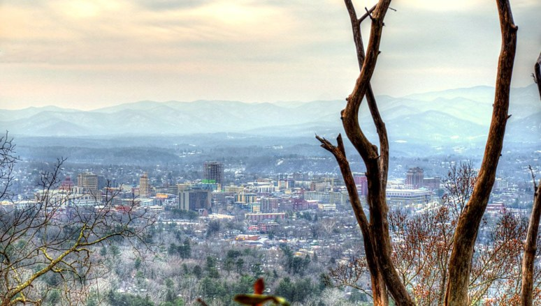 asheville in snow from Sunset Mountain