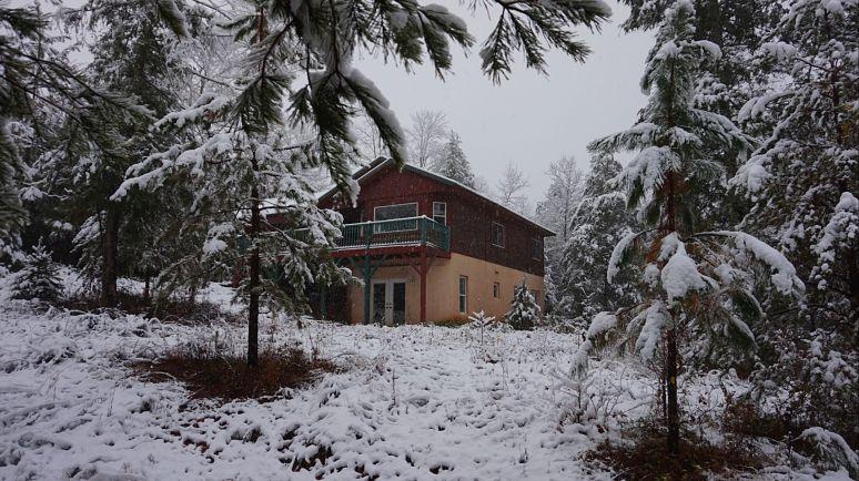 hemlock house at otter creek north carolina in snow