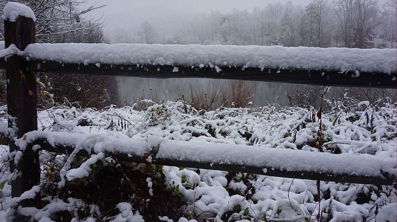 otter pond fence in snow north carolina