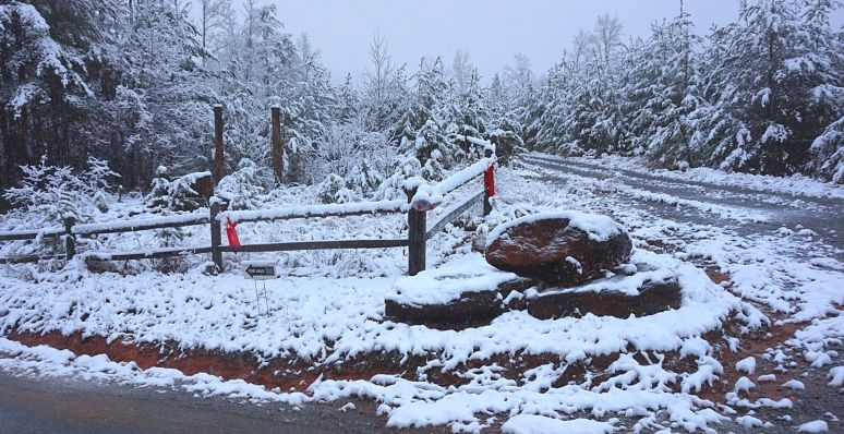 christmas fence at Otter Creek snow north carolina