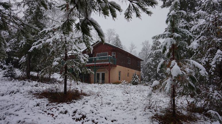 hemlock house at otter creek north carolina in snow